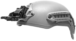 Low-Profile Flip-Up Helmet Mount GSCI HM-714LP-SR. Shroud-ready. Lightweight Aluminum, extra Durable. Available PVS and Dovetail type brackets.